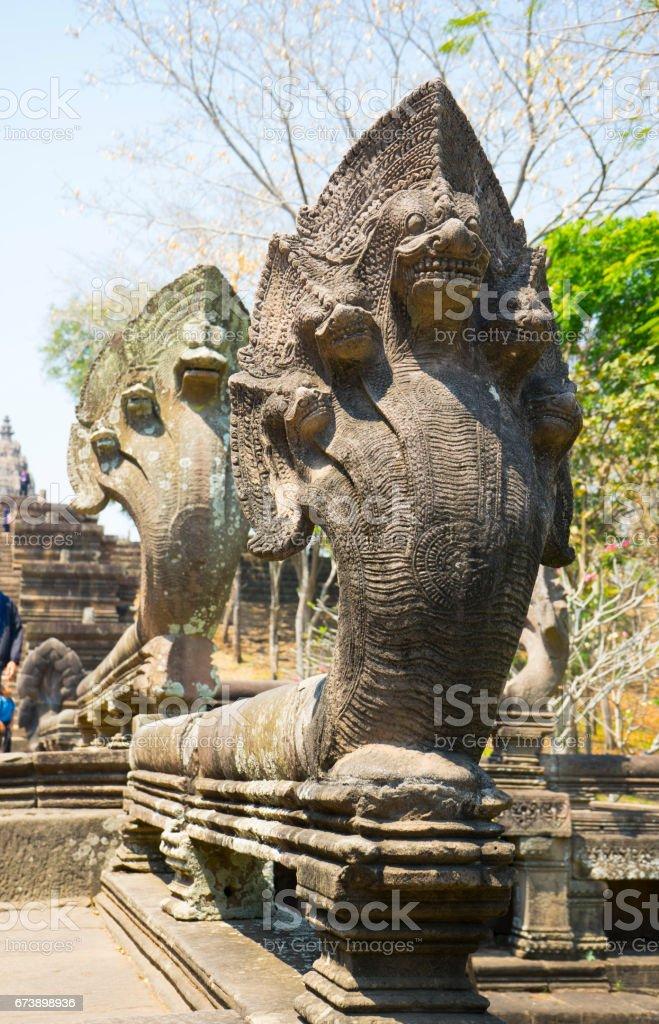 Naga Sculptures at Phanom Rung photo libre de droits