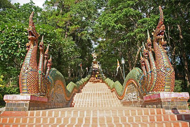 Naga Stairway, Doi Suthep Temple stock photo