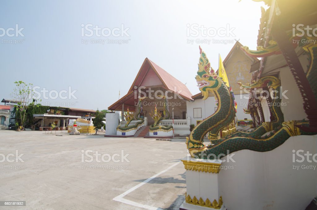 Naga statue decorate the stairs at 'Wat Ma Ha That  ChiangKhan' in Loei province,Thailand royalty-free 스톡 사진