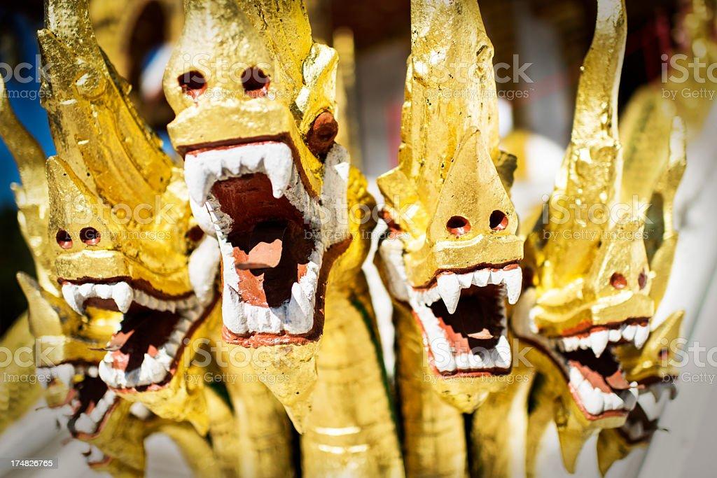 Naga statues at buddhist Temple royalty-free stock photo