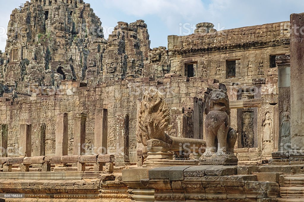 Naga Vasuki and Lion guards Prasat Bayon, Cambodia stock photo