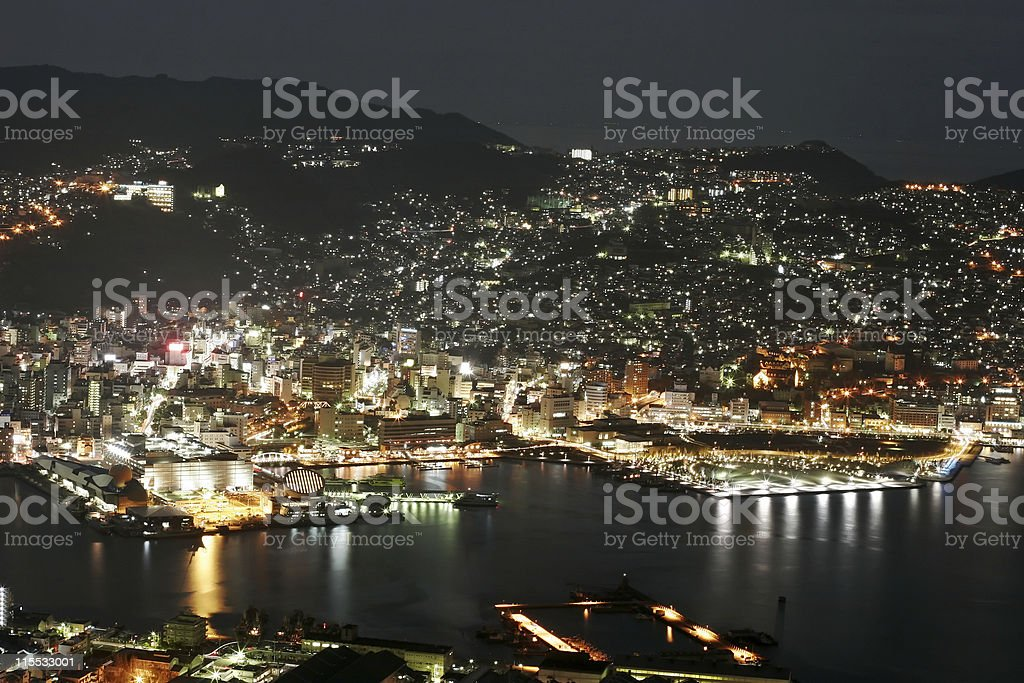 Nagasaki at Night royalty-free stock photo