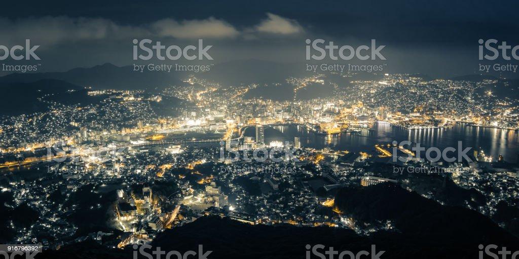 Nagasaki Night View from Mt. Inasa (Inasayama) in Nagasaki, Japan. stock photo