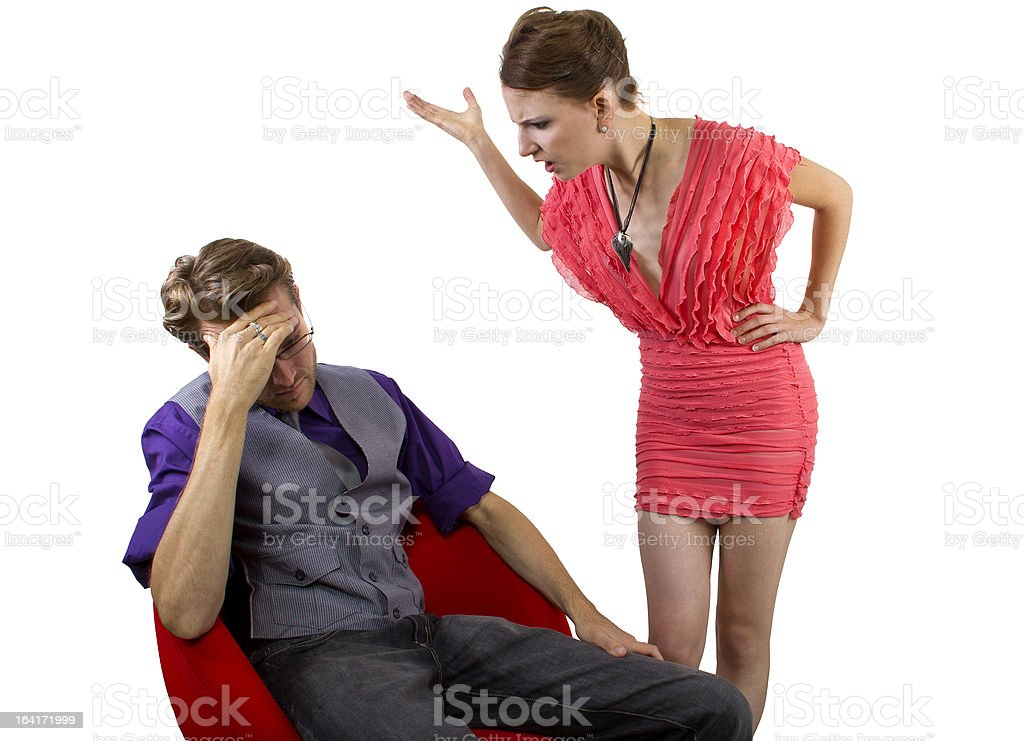 Nagging Girlfriend Upset at Boyfriend Having Relationship Problems royalty-free stock photo