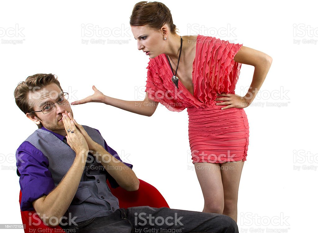 Nagging Girlfriend Upset at Boyfriend Having Relationship Problems stock photo