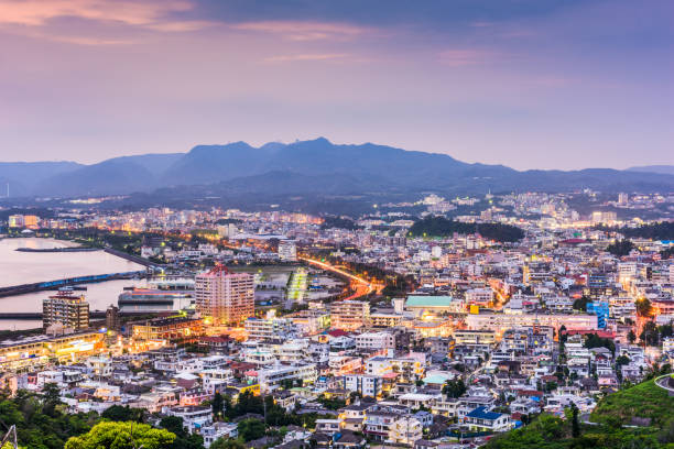 Nago, Okinawa, Japan Nago, Okinawa, Japan downtown skyline. naha okinawa stock pictures, royalty-free photos & images