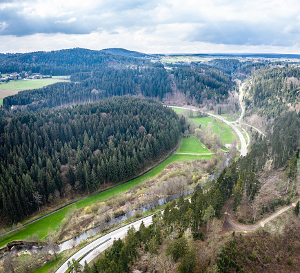 Nagold Valley Black Forest Germany. Aerial in Spring. Close to Wildberg