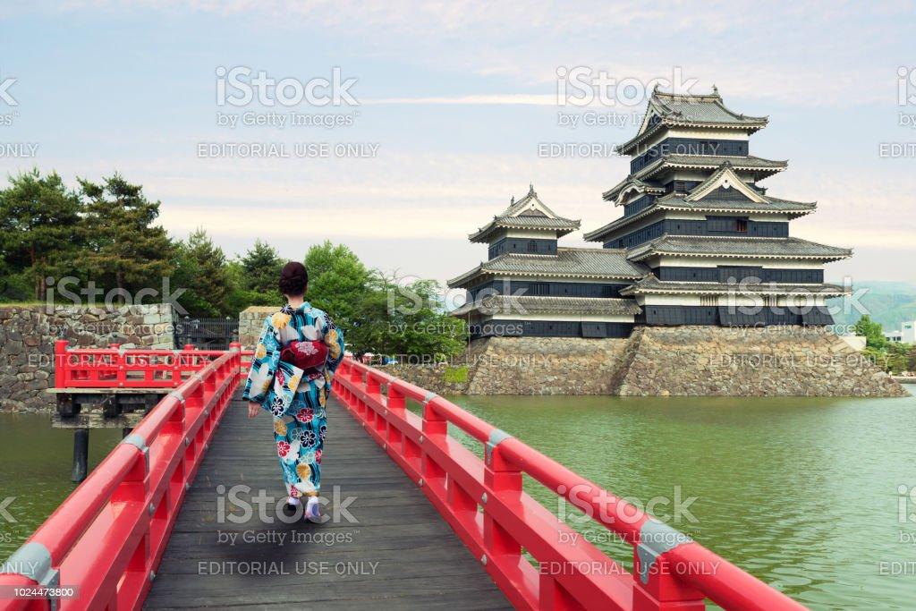 Nagono, Japan - May 15 ,2015 : Asian woman wearing traditional japanese kimono in Matsumoto castle in Matsumoto, Nagono, Japan. stock photo