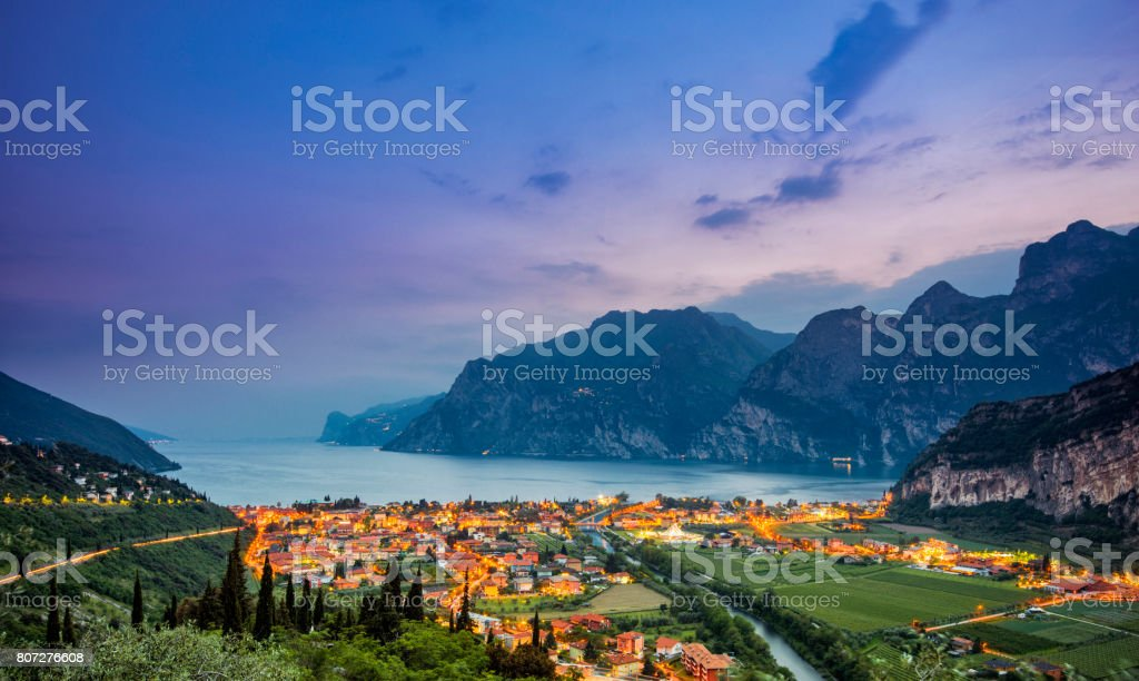 Nago-Torbole and Lake Garda at sunset stock photo