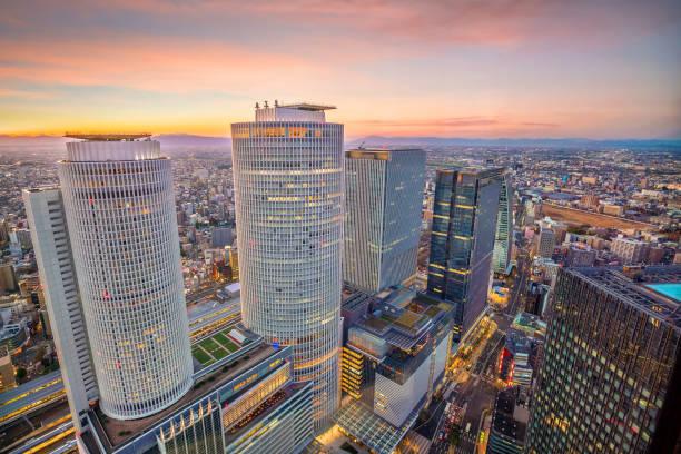 Skyline da cidade de Nagoya em Japão - foto de acervo