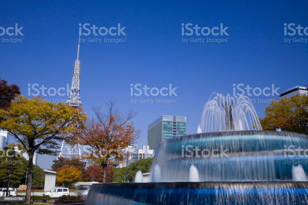 Nagoya television tower and a fountain foto stock royalty-free