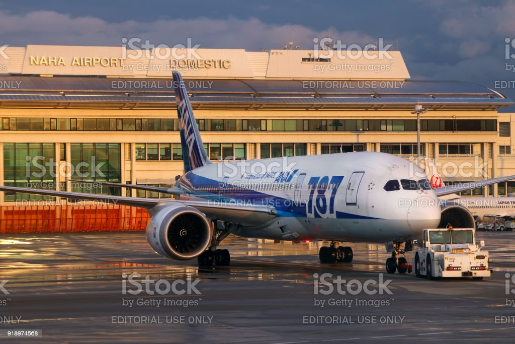 Naha airport with ANA 787 stock photo