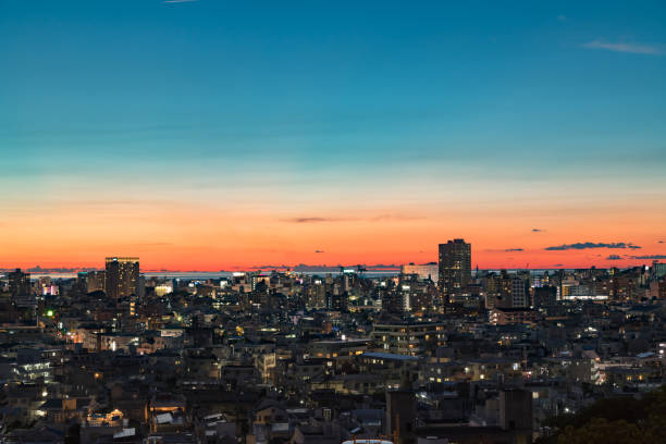 Naha city at dusk Night view of Naha city Sky of sunset naha okinawa stock pictures, royalty-free photos & images