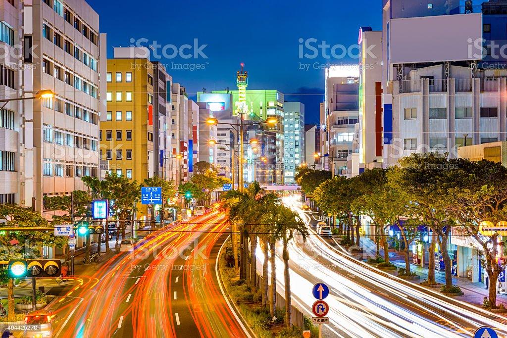 Naha, Japan Downtown Cityscape Naha, Okinawa, Japan downtown cityscape over the expressway. 2015 Stock Photo
