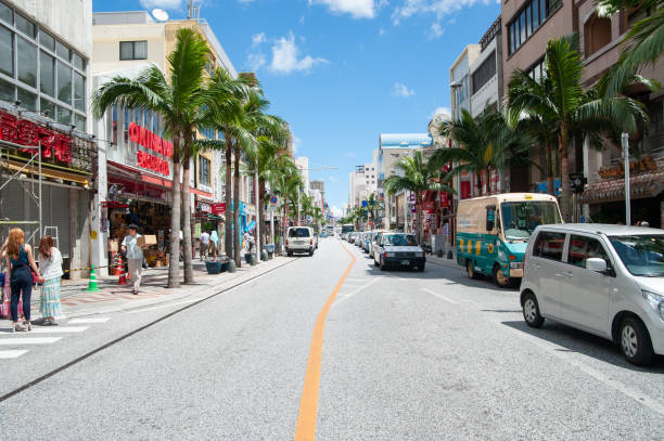 Naha Kokusai Dori shopping street It is located in Naha, Okinawa. It is the busiest street in Okinawa Prefecture and it is the biggest downtown area in Naha. naha stock pictures, royalty-free photos & images
