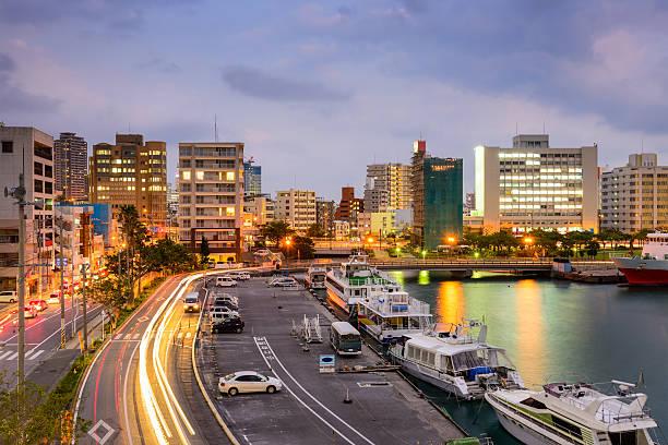 Naha Okinawa Cityscape Naha, Okinawa, Japan cityscape at Tomari Port. naha okinawa stock pictures, royalty-free photos & images