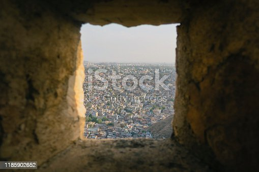A shot from one of the stone windows of Nahargarh Fort in Jaipur, Rajasthan, India. Nahargarh means