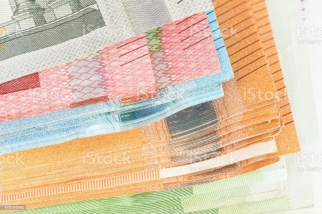 Nahaufnahme von Euro Banknoten stock photo