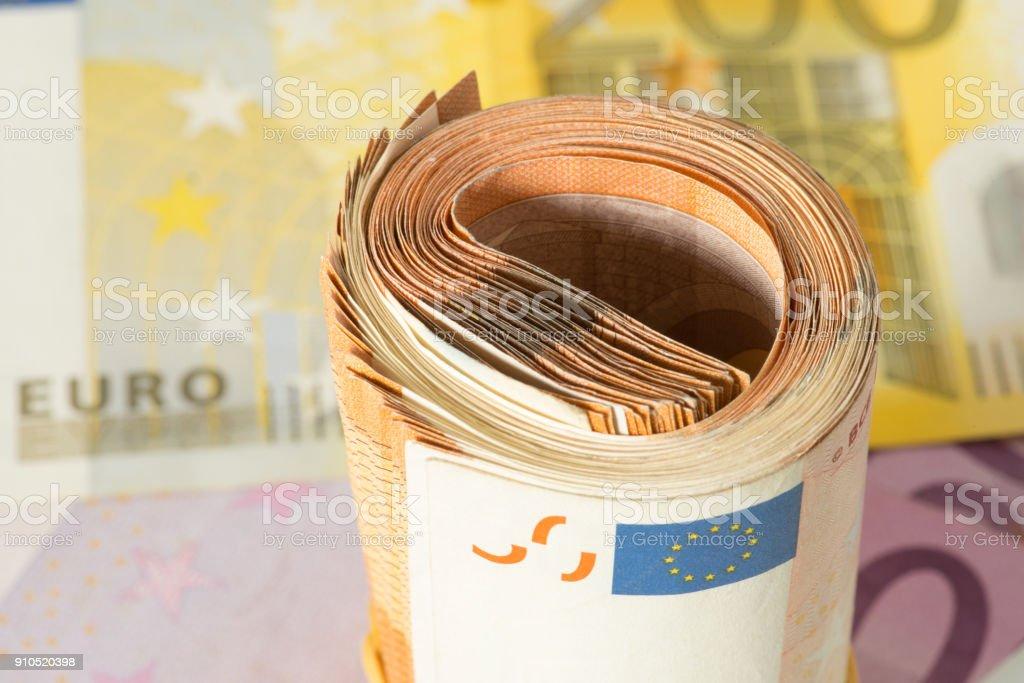 Nahaufnahme von Euro Geldscheinen stock photo