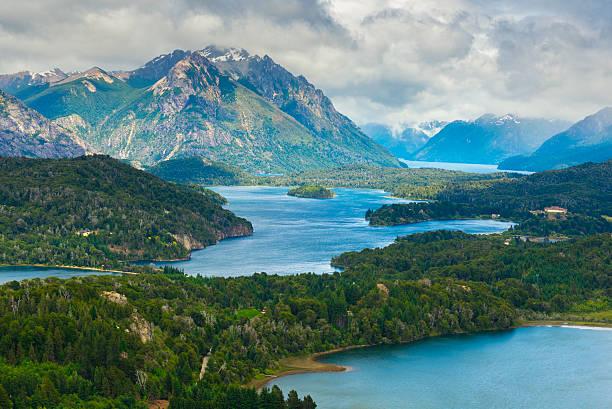 Nahuel Huapi national park from Cerro Campanario near Bariloche (Argentina) stock photo
