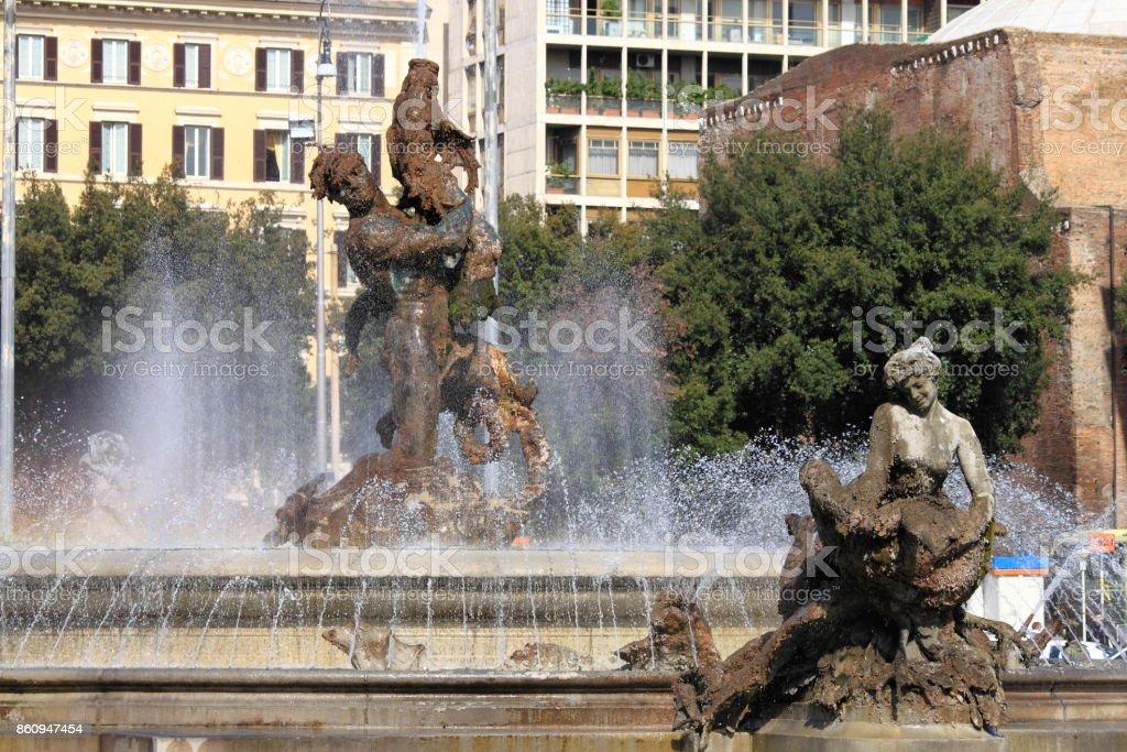 Naiads fountain in Repubblica square of Rome stock photo