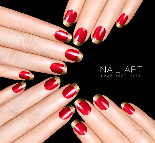 Nail Art Trend. Luxury Nail Polish. Golden Nail Stickers stock photo