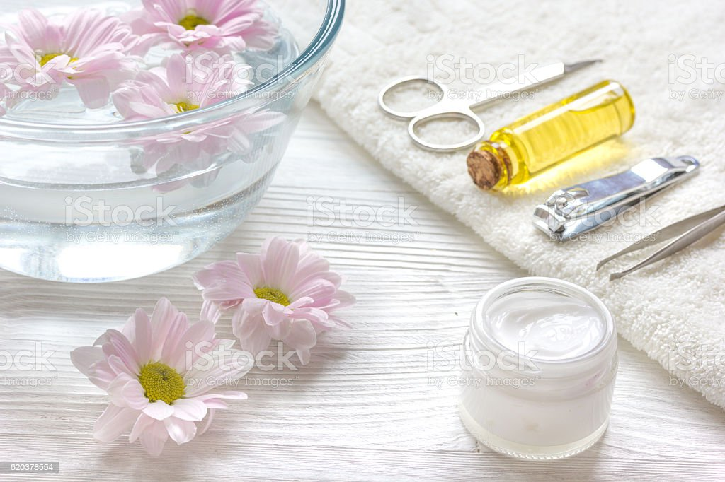 nail care and spa with essential oil on wooden background foto de stock royalty-free