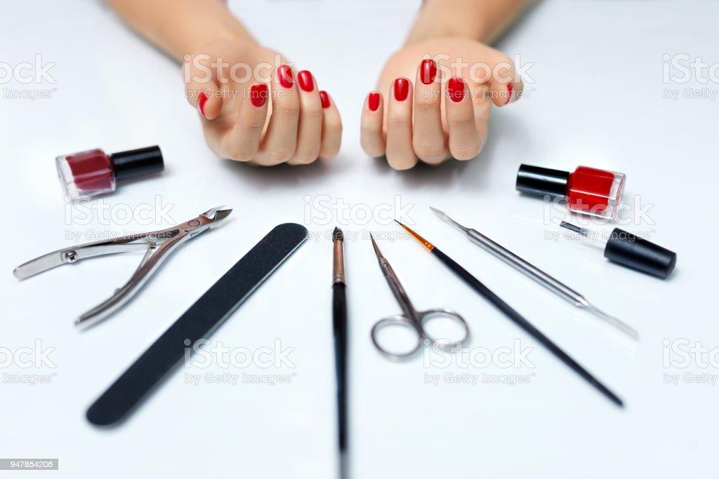Nail Care. Closeup Of Beautiful Woman Hands Showing Perfect Nails...
