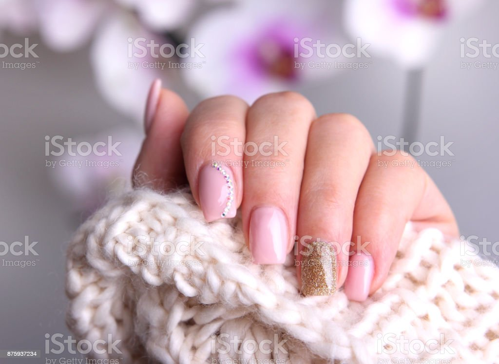 Nail design soft colors. stock photo