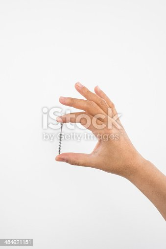 Nail in Hand , isolated on white