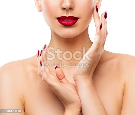 Nail Lip Beauty Model. Woman Face Hand Skin Care. Make up Portrait Close up isolated White Studio Background