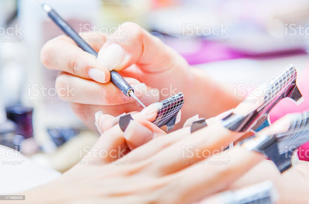 Nail manicure - gel nails stock photo