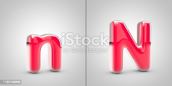 Nail Polish letter N isolated on white background. 3d pink glossy alphabet font.