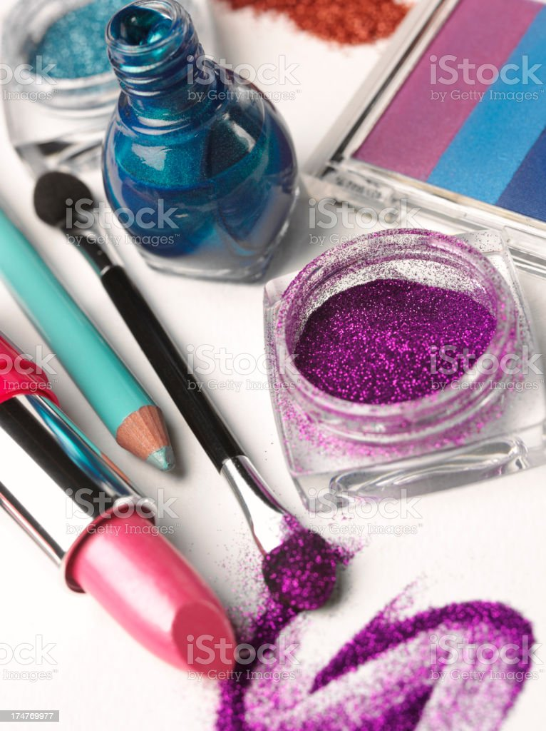 Nail Polish And Purple Glitter Eyeshadow With A Pink Lipstick stock ...