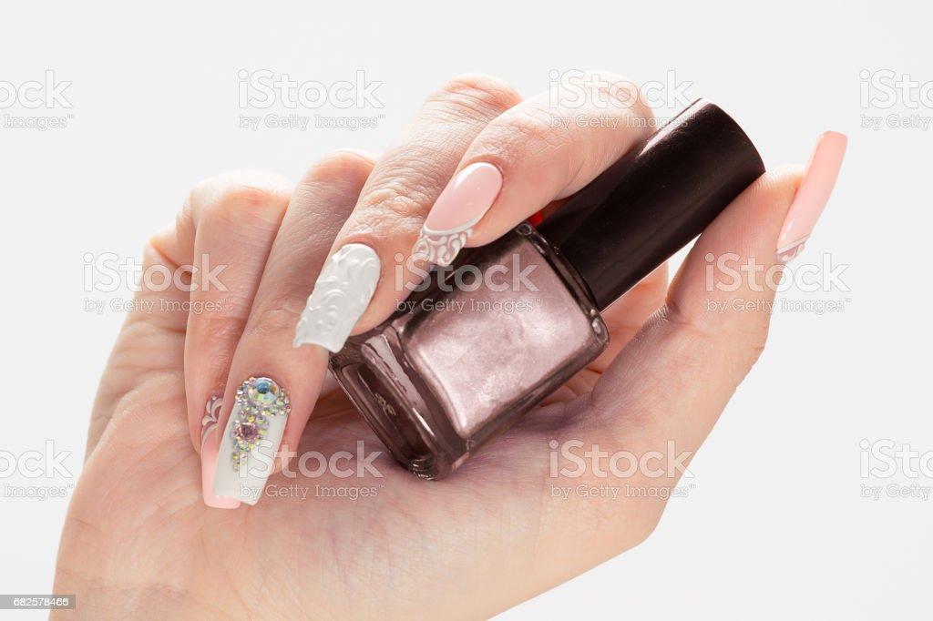 Nail Polish Art Manicure Modern Style Blue Nail Polish Beauty Hands