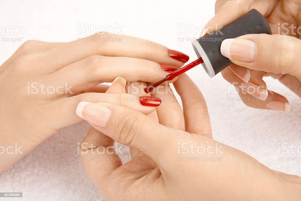 Nail polish drawing stock photo