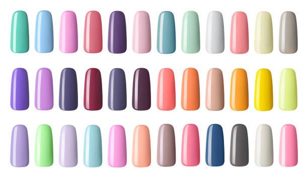nagellack in verschiedenen mode-farbe. bunten nagellack in isolierten weißen hintergrund tipps - gelnägel stock-fotos und bilder