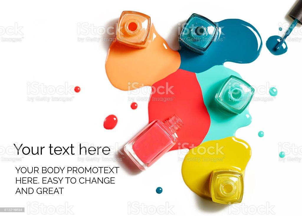 Nail polish splatter on white background with text stock photo