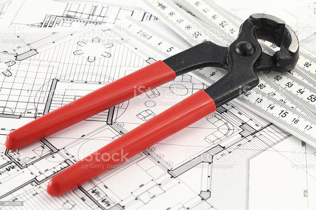 nail puller, ruler and interior blueprint royalty-free stock photo