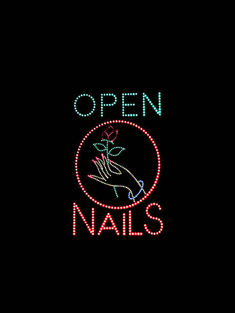 Nail Salon Open Sign stok fotoğrafı