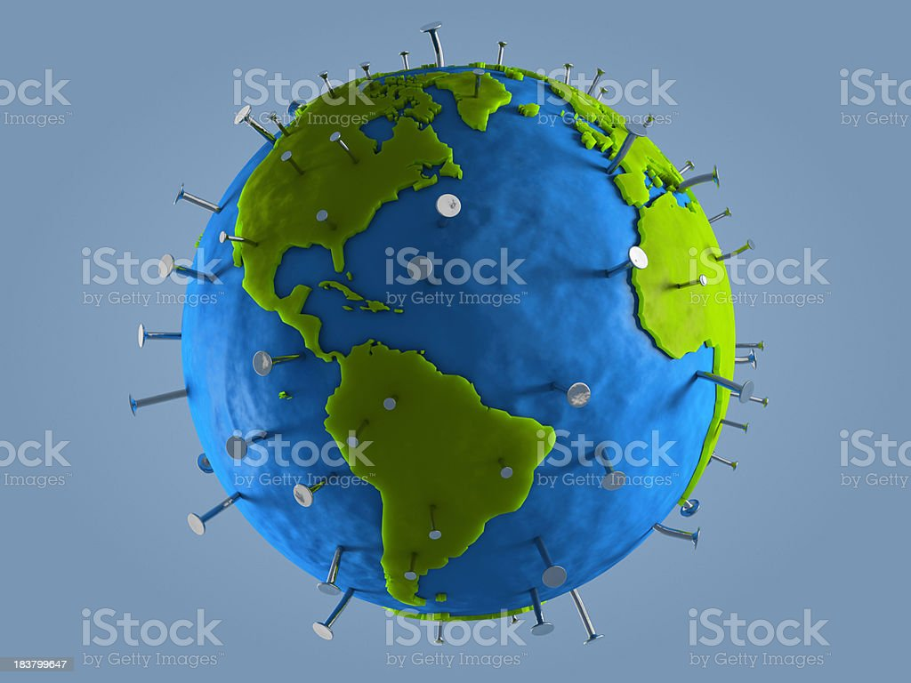 Nailed Globe stock photo