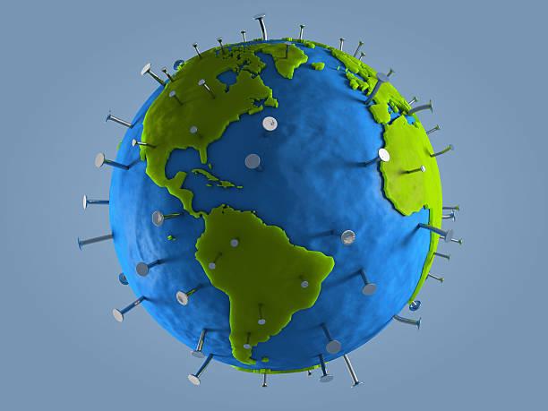 Nailed Globe stock photo