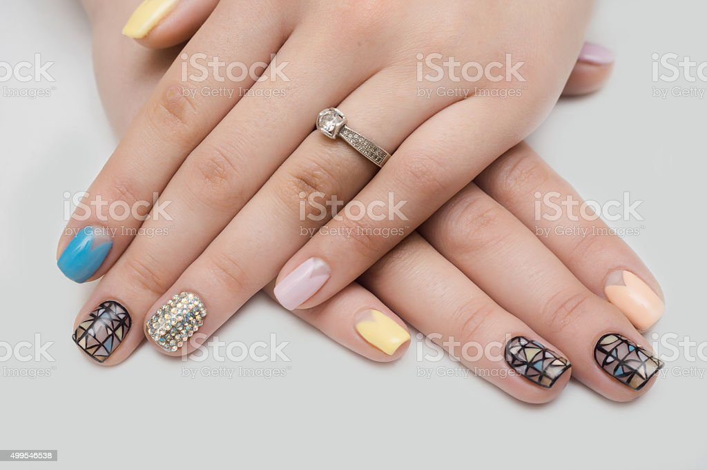 design, nail, crystals, background, white, manicures, beautiful,...