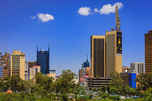 Nairobi, Kenya: Looking Over The Park Towards The Bumper To Bumper Traffic On Kenyatta Avenue In Downtown Nairobi, The Capital City stock photo