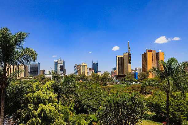 Nairobi, Kenya: Looking Over The Park Towards The Busy Kenyatta Avenue In Downtown Nairobi, The Capital City stock photo