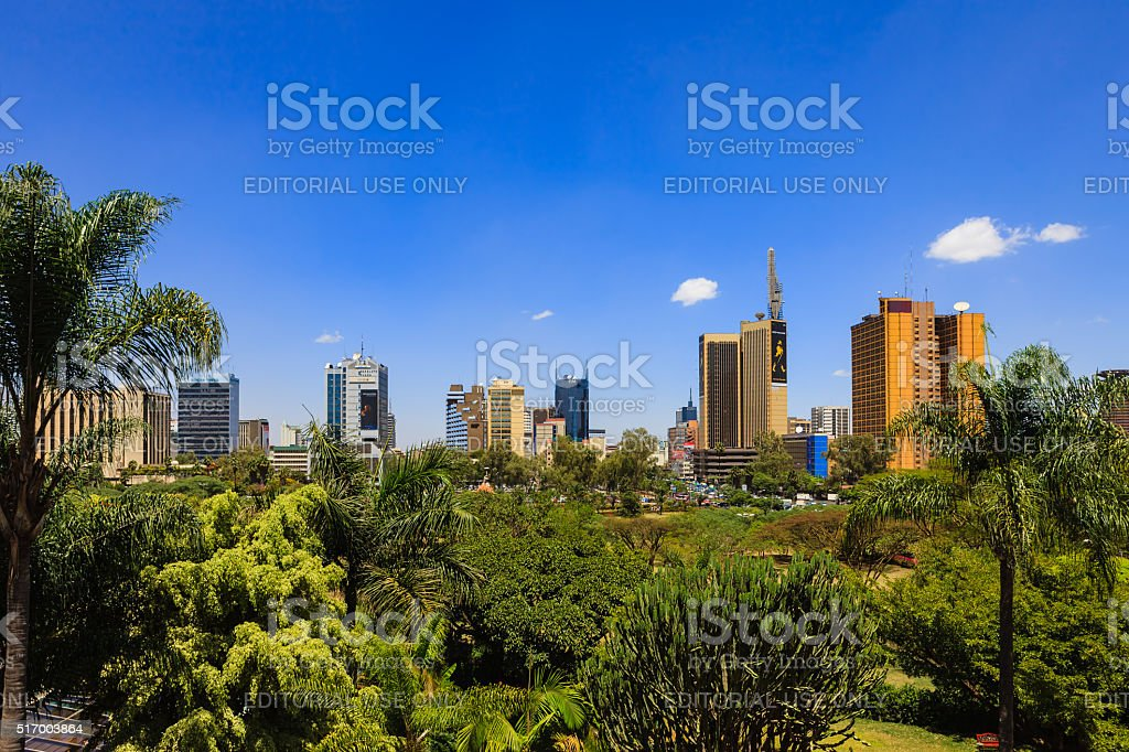 Nairobi, Kenya - View over park to downtown area stock photo