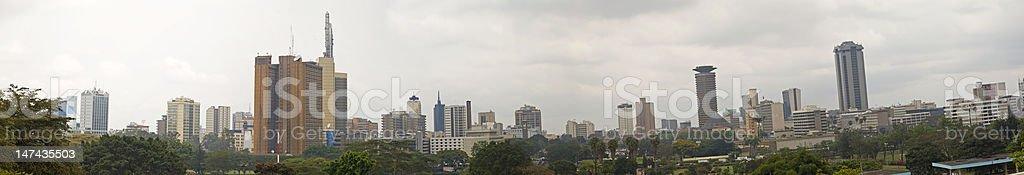 Nairobi panorama with smog stock photo