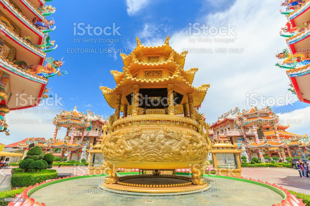 Naja Chinese Shrine. Visitors go to this shrine for making merit by respecting Chinese God, especially the celestial named Naja in THAILAND. stock photo