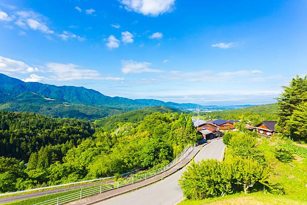 nakasendo magome overlooking kiso valley japan - 日本 風景 ストックフォトと画像