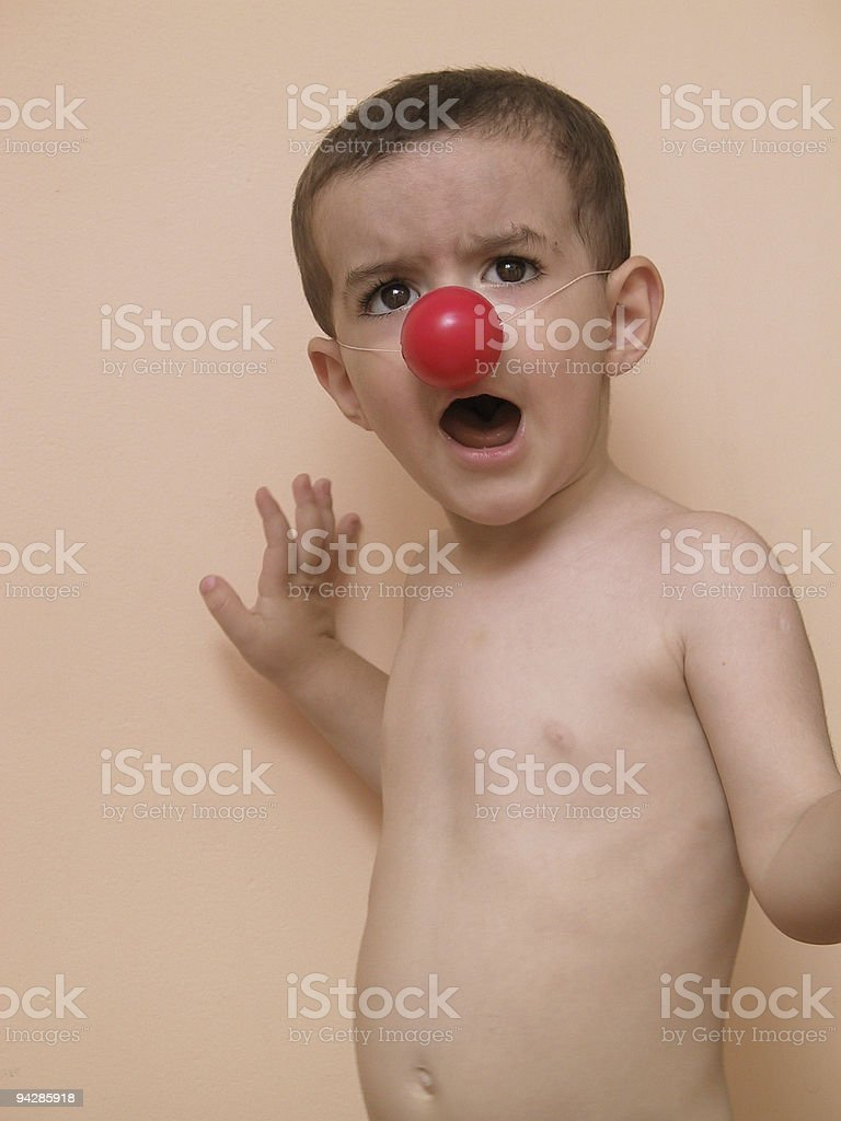 Naked boy with red nose 2 royalty-free stock photo